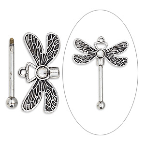 focal, glass rhinestone with antique silver-finished brass and pewter (zinc-based alloy), clear, 48x38.5mm single-sided dragonfly with twist-off top, 24.5mm beadable length. sold individually.