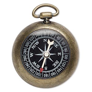focal, glass with antique brass-plated steel and pewter (zinc-based alloy), black / white / red, 59x45mm compass. sold individually.