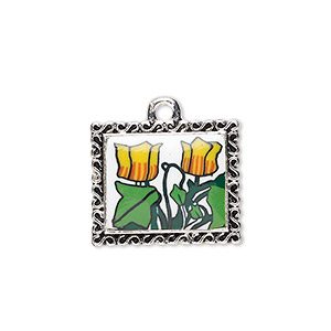 focal, glazed polymer clay and silver-finished pewter (zinc-based alloy), multicolored, 34x29mm single-sided rectangle with tulip design and swirl edge. sold individually.