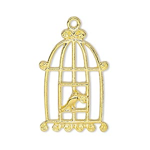 focal, gold-finished pewter (zinc-based alloy), 30.5x20mm single-sided bird in cage. sold per pkg of 4.