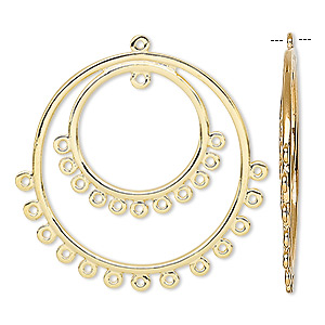 focal, gold-plated brass, 30mm double hoop round with 25 loops. sold per pkg of 4.