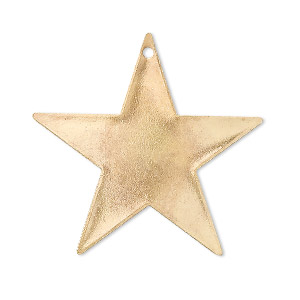 focal, gold-plated brass, 33x33mm top-drilled star. sold per pkg of 4.