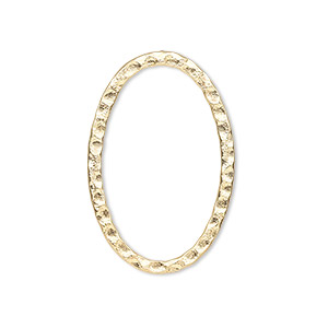 focal, gold-plated steel, 30x20mm double-sided hammered flat open oval. sold per pkg of 8.