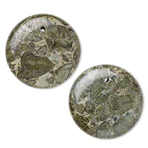 focal, green brecciated jasper (natural), 30mm flat round, b grade, mohs hardness 6-1/2 to 7. sold per pkg of 2.