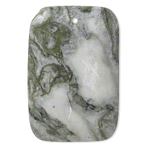 focal, green earth jasper (natural), 45x30mm-47x31mm puffed rectangle with flat back, b grade, mohs hardness 2-1/2 to 6. sold individually.