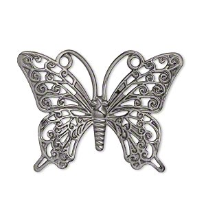 focal, gunmetal-plated brass, 36x26mm single-sided fancy butterfly. sold per pkg of 10.