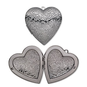focal, gunmetal-plated brass, 42x40mm double-sided heart locket with etched flower and scroll design. sold individually.