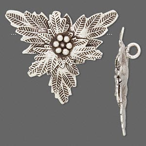 focal, hill tribes, antiqued fine silver, 30x26mm flower. sold individually.