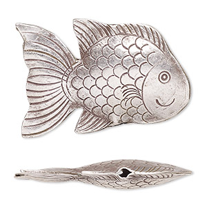 focal, hill tribes, antiqued fine silver, 37x24mm puffed fish. sold individually.