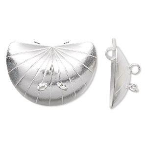 focal, hill tribes fine silver, 32x23mm shell with 3 loops. sold individually.