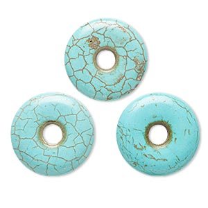 focal, howlite (imitation), aqua blue, 30mm round donut. sold per pkg of 3.