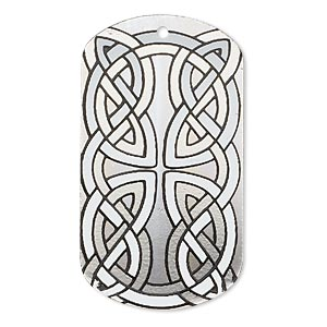 focal, imitation rhodium-finished carbon steel, black and white, 40x22mm single-sided dog tag with celtic knot design. sold per pkg of 2.