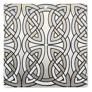 focal, imitation rhodium-finished carbon steel, black and white, 40x40mm single-sided square with celtic knot design. sold per pkg of 2.