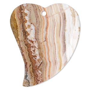 focal, italian onyx (natural), 57x43mm heart, b grade, mohs hardness 3. sold individually.