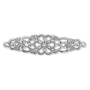 focal, jbb findings, antique silver-plated brass, 38.5x11mm single-sided with flower and swirl design, 2 loops. sold individually.