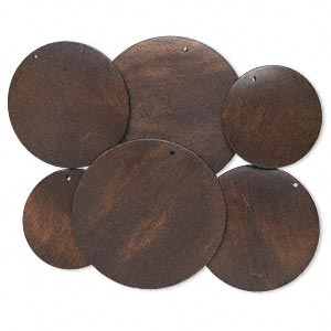 focal, korean boxwood (dyed), dark brown, 40-60mm top-drilled round. sold per pkg of 3 pairs.