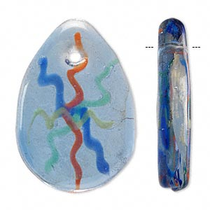focal, lampworked glass, blue / green / yellow / orange with gold-colored foil, 43x30mm single-sided teardrop. sold individually.