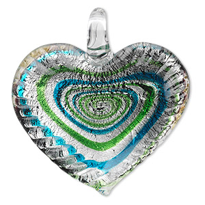 focal, lampworked glass, green and blue with silver-colored foil, 42x40mm single-sided wavy heart with swirl design. sold individually.