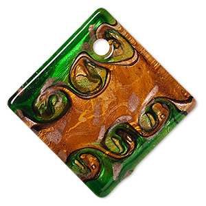 focal, lampworked glass, orange and green with copper-colored foil, 55x55mm single-sided flat diamond. sold individually.