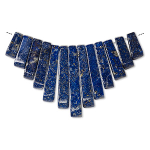 focal, lapis lazuli (natural), 10-29mm graduated mini-fan, b grade, mohs hardness 5 to 6. sold per 13-piece set.