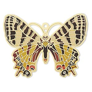 focal, lazer lace™, color film and gold-finished brass, multicolored, 44x35mm single-sided butterfly. sold per pkg of 20.