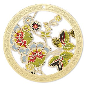 focal, lazer lace™, color film and gold-finished brass, multicolored, 45mm single-sided round with cutouts and floral design. sold per pkg of 20.