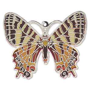 focal, lazer lace™, color film and silver-finished brass, multicolored, 44x35mm single-sided flat butterfly. sold per pkg of 2.