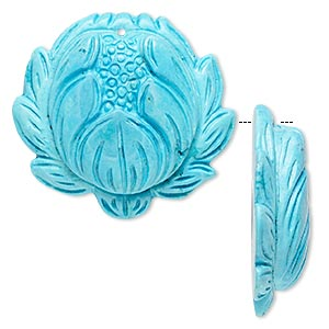 focal, magnesite (dyed / stabilized), blue, 38x34mm hand-carved lotus flower, b grade, mohs hardness 3-1/2 to 4. sold individually.