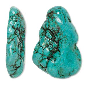 focal, magnesite (dyed / stabilized), dark blue-green, 58x37mm-61x42mm top-drilled freeform, b grade, mohs hardness 3-1/2 to 4. sold individually.