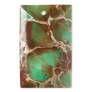 focal, magnesite (dyed / stabilized), green, 40x25mm hand-cut top-drilled domed rectangle with flat back, b grade, mohs hardness 3-1/2 to 4. sold individually.
