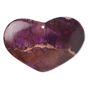focal, magnesite (dyed / stabilized), purple, 55x35mm hand-cut top-drilled heart flat back, b grade, mohs hardness 3-1/2 to 4. sold individually.