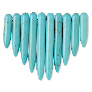 focal, magnesite (dyed / stabilized), turquoise blue, 20x5mm-39x5mm graduated spike fan, b grade, mohs hardness 3-1/2 to 4. sold per 10-piece set.