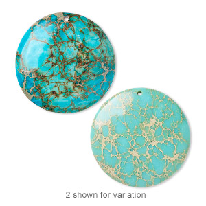 focal, magnesite (dyed / stabilized), turquoise blue, 40mm hand-cut round with flat back, b grade, mohs hardness 3-1/2 to 4. sold individually.