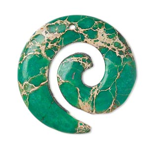 focal, magnesite (dyed / stabilized), turquoise green, 35mm hand-cut top-drilled round spiral, b grade, mohs hardness 3-1/2 to 4. sold individually.
