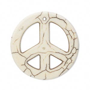 focal, magnesite (stabilized), white, 33mm peace sign, b- grade, mohs hardness 3-1/2 to 4. sold per pkg of 5.