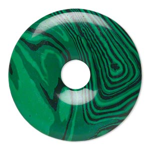 focal, malachite (imitation), dark and light green, 40mm round donut. sold individually.