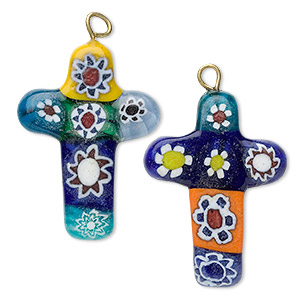 focal, millefiori glass and antique gold-finished pewter (zinc-based alloy), multicolored, 35x20mm cross. sold per pkg of 2.