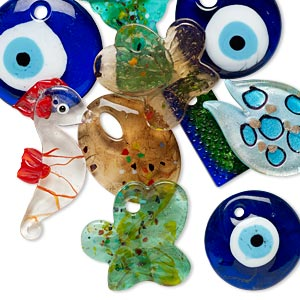 focal mix, lampworked glass, mixed colors, 29mm-63x35mm mixed shape. sold per pkg of 10.