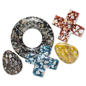 focal mix, mother-of-pearl shell and resin (assembled), multicolored, 39x30mm-69x67mm mixed shape. sold per pkg of 5.