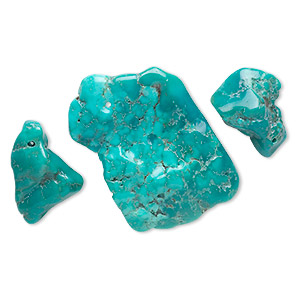 focal mix, turquoise (dyed / stabilized), blue-green, 20x14mm-54x45mm freeform, mohs hardness 5 to 6. sold per 3-piece set.