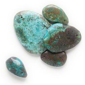 focal mix, turquoise (dyed / stabilized), blue-green, 26x15mm-45x33mm teardrop. sold per pkg of 5.
