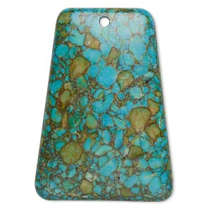 focal, mosaic turquoise (dyed / assembled), blue, 40x29mm-40x30mm top-drilled trapezoid, c grade, mohs hardness 3-1/2 to 4. sold individually.