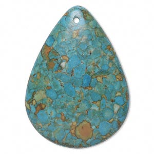 focal, mosaic turquoise (dyed / assembled), blue, 47x35mm top-drilled teardrop, mohs hardness 3-1/2 to 4. sold individually.