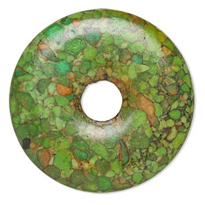 focal, mosaic turquoise (dyed / assembled), green, 45mm round donut with 10mm hole, mohs hardness 3-1/2 to 4. sold per pkg of 2.