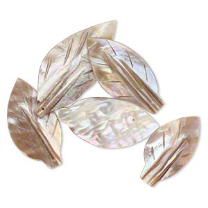 focal, mother-of-pearl shell (natural), 36x20mm-54x24mm leaf, mohs hardness 3-1/2. sold per pkg of 5.