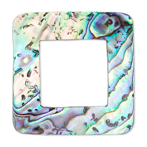 focal, paua shell (natural), 50x50mm undrilled square donut. sold individually.