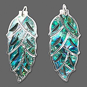 focal, paua shell (natural) and silver-plated metal, 46x20mm leaf. sold per pkg of 2.