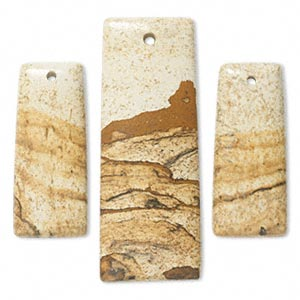 focal, picture jasper (natural), (1) 52x20mm and (2) 35x15mm rectangle, b grade, mohs hardness 6-1/2 to 7. sold per pkg of 3.