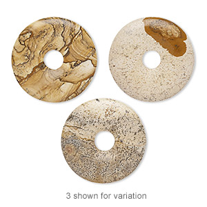 focal, picture jasper (natural), 40mm hand-cut round donut, b grade, mohs hardness 6-1/2 to 7. sold individually.