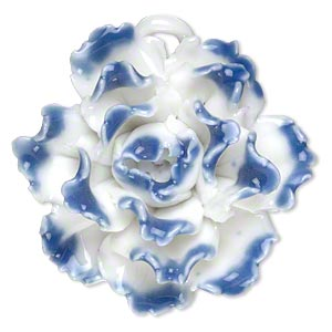 focal, porcelain, blue and opaque white, 40x40mm-45x45mm single-sided carnation with partially hidden loop. sold individually.